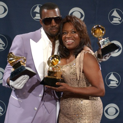 "Kanye West, winner of Best Rap Solo Performance for ""Gold Digger,"" Best Rap Song for ""Diamonds From Sierra Leone,"" and Best Rap Album for ""Late Registration"", and mother Donda West (Photo by Gregg DeGuire/WireImage for The Recording Academy)"